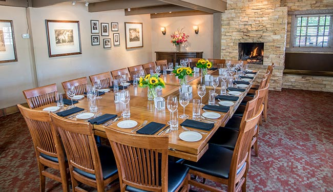 Fireplace room for private parties and group events in Boulder, Colorado